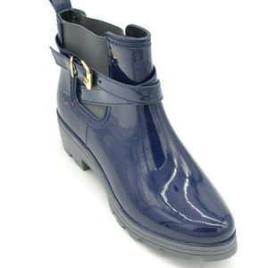 Womans Rubber Ankle Boots Style Navy EUR 39 New